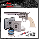 Colt SAA .45 Nickel CO2-Revolver 4,5mm Diabolos - Set