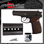 Gletcher Makarov PM  Vollmetall CO2-Pistole 4,5mm BB im Plinking-Set