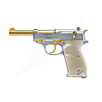 Walther P38 CO2 Pistole 4,5 mm Stahlkugeln Blowback - Gold