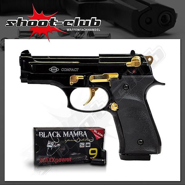 Ekol Compact schwarz-gold 9mm + MAXXpower Black Mamba